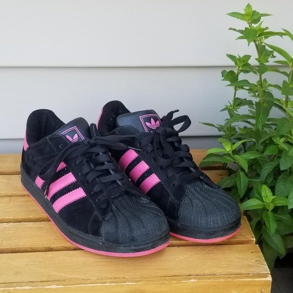 Adidas Black Pink Shell Toes Shoes
